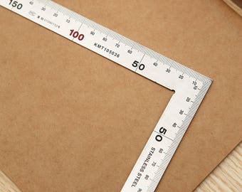 DIY handmade cowhide leather tool shop brand right angle ruler 30 cm -wide stainless steel