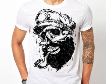 Mens Skull Sailor Pirate - White T-shirt