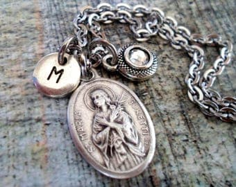St. Maria Goretti Swarovski Birthstone, Initial, Personalized Necklace, Confirmation Patron Saint, Catholic Jewelry, Girls, Teens, All Sizes