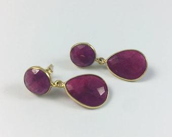 Golden Ruby Quartz Earrings