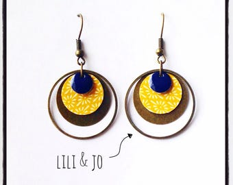Vintage collection: Earrings mustard paper and email marine