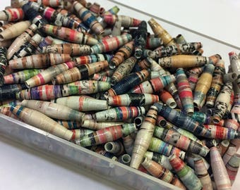 25 Recycled Paper Beads 2cm long, Magazine Paper, Jewelry Beading Supply