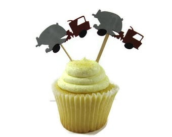 Cement Truck Cupcake Toppers Set of 6 (Made to Order)