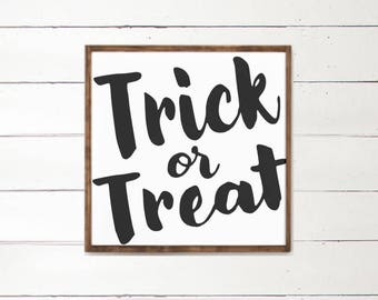 Trick or Treat Wood Sign | Fall Decor | Fall Decorations | Harvest | Country Home Decor | Halloween Decor | Wood Art Sign | Farmhouse