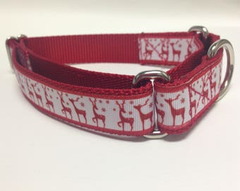 Christmas Martingale Dog Collar, Medium Martingale Collar, Medium Reindeer Martingale Dog Collar, Medium Reindeer Adjustable Dog Collar