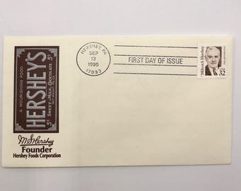 Hershey | Milton Hershey | Hershey Chocolate Bar | Hershey Kiss | 1 Vintage 1995 Great Americans First Day of Issue Envelope with 1 Stamps