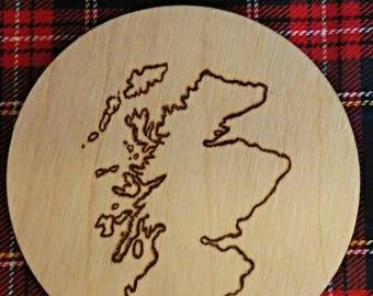 Luxury Map Of Scotland Wooden Coaster