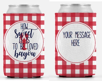 Custom Personalized Couples Engaged Crawfish Boil Party Hugger Can Cooler