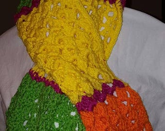 Crocheted Bright, Colorful Handmade Scarf