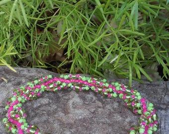 Lime & Pink Spiral Beaded Bracelet