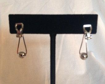 Silver Ball Drop Clip On Earrings