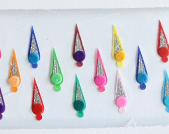 22 Plain Long Colored Bindis, Wedding Bindis, Velvet Colorful Bindis,Colorful Face Bindis,Bollywood Bindis,Self Adhesive Forehead Sticker