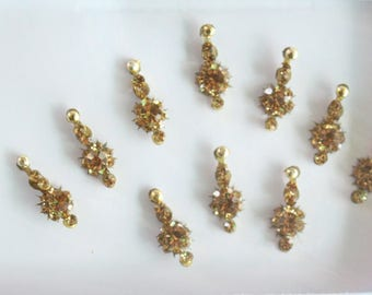 10 Tiny Gold Long Bindis Face Jewels,Wedding Bindis,Stone Bindis,Gold Bindis,Bindis,Bollywood Bindis, Long Bindis, Self Adhesive Stickers