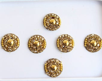 6 Gold Round Bindis,Bridal Bindis Stickers,Stone Bindis,Gold Round Face Jewels Bindis,India Bindis,Bollywood Bindis,Fake Belly Button Stud