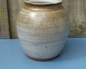Small Cornish stoneware grey and brown vase, unique present, neutral colours, delicate and functional size, gteat gift.