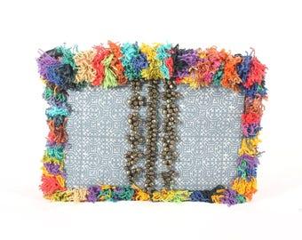 Multicolor Fringe Batik Clutch Decorative bells With Zipper Closure full lining
