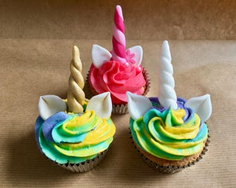 Unicorn horn and ears cupcake toppers