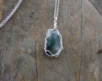 Green Moss Agate Wire Wrap Pendant