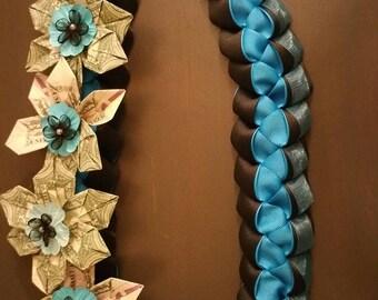 Ohana Love Lei:  6 flowers (total 50 dollars). Delux doubled braided Turquoise- Black Grosgrain Ribbon Flower Money Lei