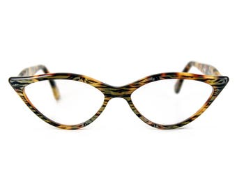 Flattering & sexy almond shaped 'AMELIE' in Tiger Tortoiseshell contemporary designer Cat Eye Glasses. Handmade for you. Rx or readers