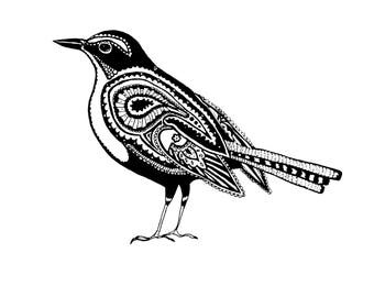 Small bird black and white paisley print stylised abstract