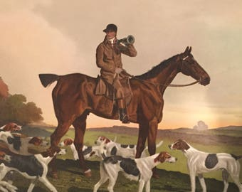 Vintage Print - Hunter on Horse with Hounds (Painted by B Marshall, Engraved by R Woodman)