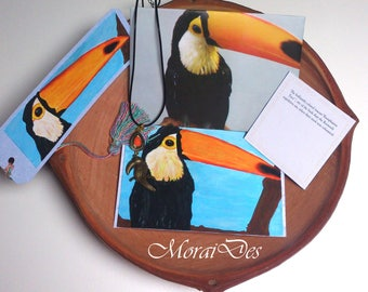 Map Toucan-Bookmark Toucan-Painted card-acrylic paint-envelope-necklace toucan-unique gift for history lovers