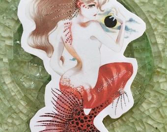 Red Mermaid Sticker