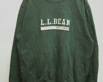 Vintage Sweatshirt L.L Bean Green color embroidered logo