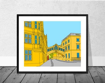 Oxford Art Print, Oxford Illustration, Bridge of Sighs, Bridge of Sighs Art, Illustration Art Print, Oxford University, Wallart, Home Decor