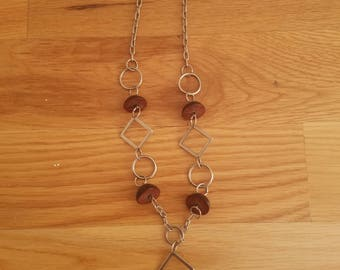 Handmade brown button necklace