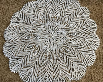 Beautiful handmade knitted round tablecloth Great gift Home decoration Doily Table Lace Crochet