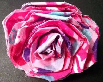 Fabric Rose Barrette Hearts