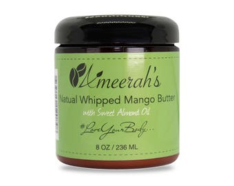 Organic Whipped Mango Butter & Sweet Almond Oil (8 Oz) - Create Your Own Body Butter - Choose Essential Oils, Carrier Oils and Fragrance