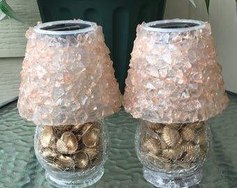 Clear glass table solar lamps exclusively hand crafted