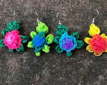 Turtle Earrings-Rainbow Loom