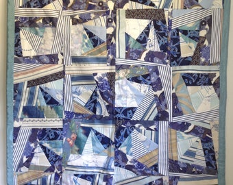 """Quilt """"Sailing"""" 42 x 52, cotton with silk backing and binding."""