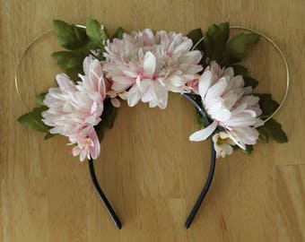 Pink Dahlia Floral Minnie Ears