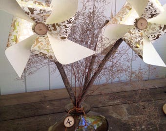 Large wedding pinwheels/ wooden pinwheels/paper pinwheels/ wedding decor/