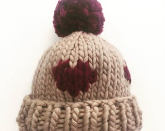 Chunky Knitted Beanie Hat + Pom Pom (100% Wool) - Burgundy Hearts