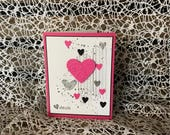 Valentines Day Card, Pink and Black Punched Patterned Hearts, Pink and Black Matting, Stamped Accents, Sentiment Inside