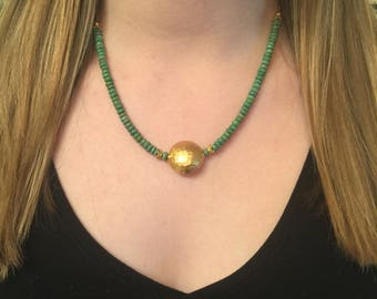 Arizona Green Turquoise & Hammered Gold Necklace