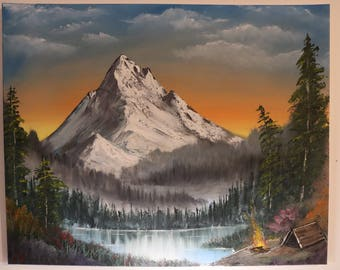 Camping In The Mountains Oil Painting