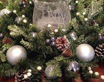Christmas Centerpiece | Silver Centerpiece | Pinecones