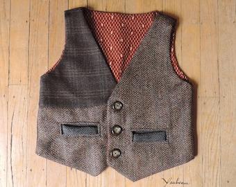 Brown Tweed Child's Vest