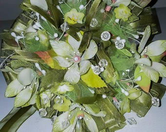 Keepsake green wedding bouquet.  Handmade clay flowers