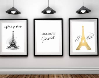 Paris printable Take me to Paris Paris Je taime Jadore Three posters set French quote print Paris sign Paris poster Paris print Eiffel tower