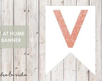 DIY Banner - 'V'. Instant Download. Printable Banner Letters. Pink Glitter. - 01