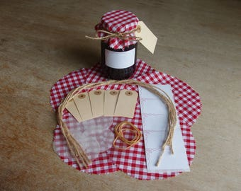 Jam Pot Covers, Fabric Complete Kit with everything you require to add a Decorative Professional touch to your Jams and Preserves