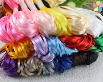 "1/8"" 3mm Multi colors option Satin Ribbon for packing and bow & Garment Accessories 20y/lot"